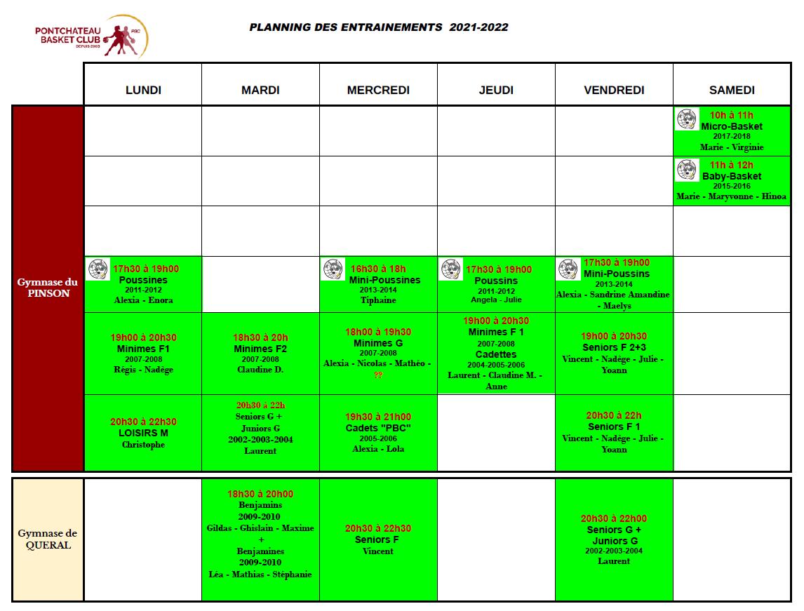 Planning des entrainements 2021 2022